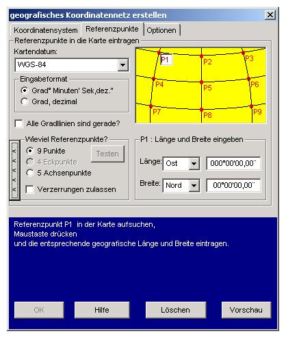 Koordinaten Karte.Eine Karte Mit Geografische Koordinaten Kalibrieren Georeferenzieren